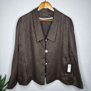 Zenobia NWT Linen Blend Jacket in Coffee